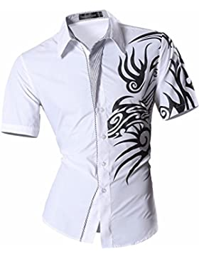 Jeansian Uomo Camicie Manica Corta Moda Men Shirts Slim Fit Casual Fashion Z031 White XL
