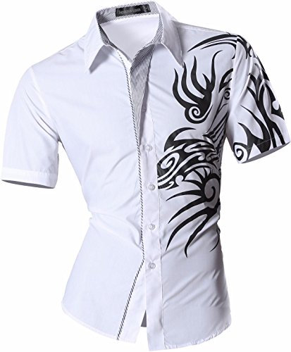 jeansian Herren Freizeit Hemden Shirt Tops Mode Kurzarm Men's Casual Dress Slim Fit 8360 White
