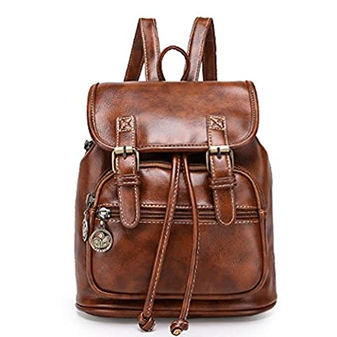 Fanova Large College Vintage Shoulder Women Backpack PU Leather School Travel Laptop Bag (Brown)