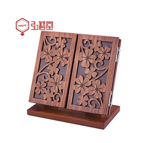 Meylee Handgefertigte Mode Retro Holz Tri-Fold Hohlen Geschnitzt Faltbare Verstellbare Kosmetikspiegel Tischplatte Schreibtisch Spiegel Geschenk für Frauen -