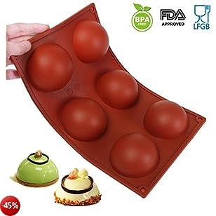 Amison stampo per dolci in silicone/Muffin per muffin, Brownie, Cupcake, Dolci, budino, cubetti di ghiaccio e gelatina–Mezza Sfera