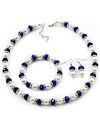 Blanco y azul imitación perla con Diamantes Anillo Collar, pulsera y Juego de pendientes de (tono plateado metal)