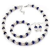 Weiße und königliche blaue Imitations-Perlen-Halskette, Armband und Ohrringe, Set, mit Ring (silberfarbenes Metall)