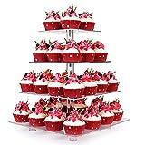 Alzata per Cupcake, Chiaro Acrilico Partito Stoviglie Torta Piazza Stand Centrotavola per la Festa Nuziale Baby Shower Compleanno (4 livelli con Base)