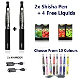 2x CE4E-Shisha aufladbare elektronische Zigarette Zigarette PEN Starter Kit dampfrauch Shisha/Shisha Schwarz Farbe GRATIS 4Geschmack kein Teer, kein Nikotin, Kein Kohlenmonoxid, kein Tabak