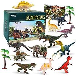 BeebeeRun 15 Pezzi Dinosauro Giocattolo,Figure di Dinosauri,12 Realistico Dinosauri+2 Albero+1 Libro dei Dinosauri,Educativo Giocattolo Regali per Bambini