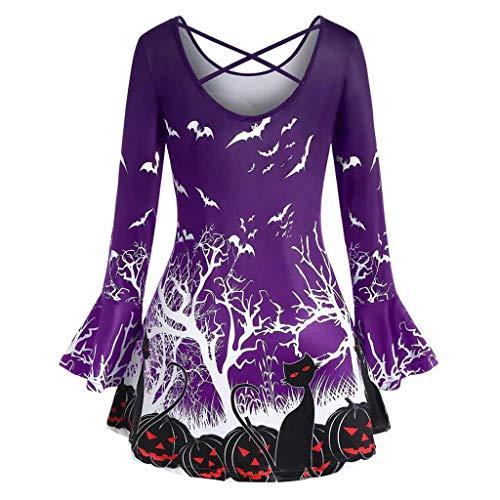 FRIENDGG Kleid Plus Size Damen Oansatz Halloween Flare ÄRmel KüRbis Katzendruck T Shirt Tops Kurzer Rock Kleid Bluse EU44-52 - Licht Linie Eine Blau Rock