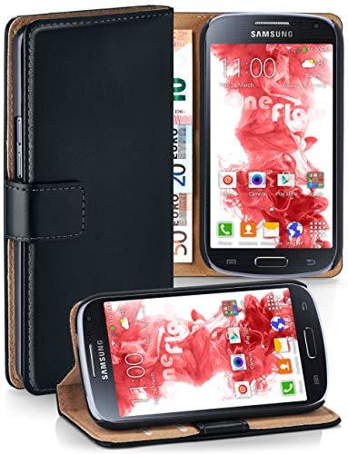 MoEx® Booklet mit Flip Funktion [360 Grad Voll-Schutz] für Samsung Galaxy S4 | Geldfach und Kartenfach + Stand-Funktion und Magnet-Verschluss, Schwarz