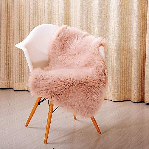 Faux Schaffell Teppich Hohe Dichte Wolle Perfekt Stuhl Abdeckung Sitz Mats Sofa Werfen Decke Pads Gemütlich Plüsch-,Pink,60x100cm(24x39inch) ()