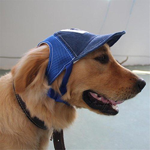 Haustier Hund Jeans Sport Baseball, Sonne Hut Kleider Mit Ohr Löcher Zum Klein Mittel Groß Teddy Stierkampf Labrador Retriever , Blue , S -