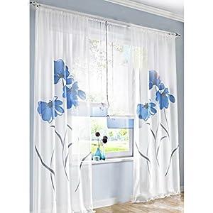 KOU DECO Wohnzimmer Gardinen Voile Transparente Kräuselband Vorhänge Mit  Blumen Druck 1er Pack Vorhang
