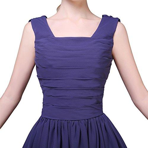 EnjoyBridal® Damen Kurz Chiffon A-Linie Abendkleid Ballkleid Partykleid Brautjungfernkleid mit Träger Blau