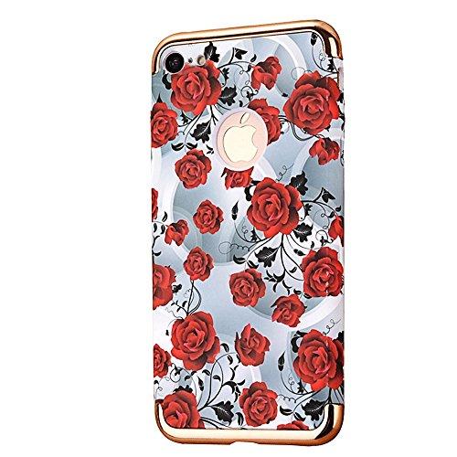 "iPhone 7 Schutzhülle, CLTPY Luminous Feature Case Slim Fit iPhone 7 Hartplastik Abdeckung mit Gold Plating Removable Frame für 4.7"" Apple iPhone 7 + 1 x Stift - Gemalte Graffiti 2 Rote Rose"