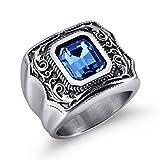 KnSam Schmuck Herren Ring Edelstahl Fingerring Bandring Kristall Verlobungsringe Geschenk für Männer Junge Blau Größe 62 (19.7)