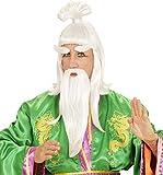WIDMANN s6938–Peluca con barba, bigote y cejas de Alte chino, blanca, de talla única