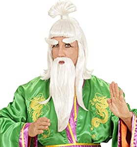 WIDMANN s6938?Peluca con barba, bigote y cejas de Alte chino, blanca, de talla única