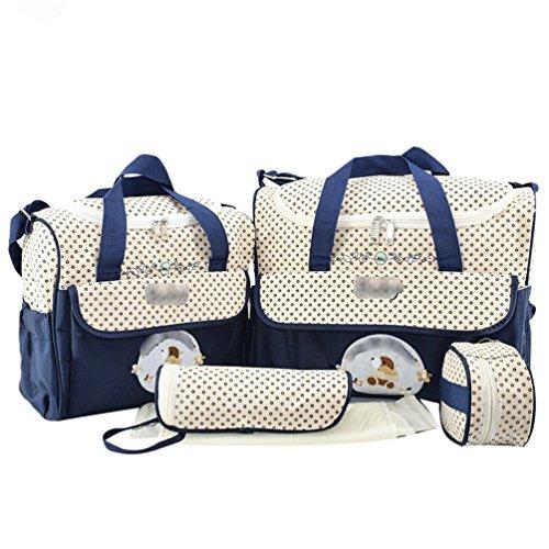 Jitong Gedruckte 5 Stück Wickeltasche Set/Multifunktion Mutter Handtasche Schultertasche/Flasche Taschen/Baby Wickelauflage (Marine, Eine Größe)