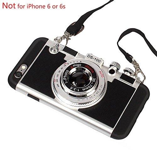 Black Lemon iPhone 6Plus Case, iPhone 6S Plus Schutzhülle, 3D Einzigartiges Design Kamera Fall PC + Silikon stoßfest Hybrid-Schutzhülle mit langem Schultergurt Seil