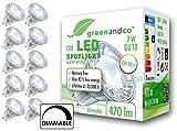 10x greenandco CRI 90+ LED Spot dimmbar ersetzt 40 Watt GU10 Halogenstrahler, 7W 470 Lumen 3000K warmweiß COB LED Strahler 38° 230V AC Glas mit Schutzglas, flimmerfrei, 2 Jahre Garantie