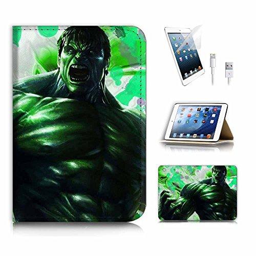 (für iPad Mini 123, Generation 1/2/3) Flip Wallet Schutzhülle & Displayschutzfolie & Ladekabel Bundle. A4003Superheld Grün Hulk (Ipad Case Hulk 3)