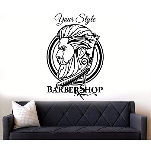 Mmwin barbiere hipster wall sticker barbiere decorazione decorazione parrucchiere decalcomania da muro smontabile wall art sticker hipster decor  42 * 64cm