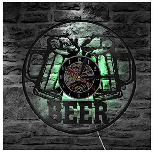 AIYOUBU Bier Dekorative Wandbehang Party Dekoration Uhr Uhr Bar Club Dekoration Nachtlicht Brauerei Kunst Schallplatte Wanduhr Geschenk Männer