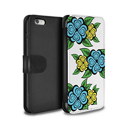 Stuff4 Coque/Etui/Housse Cuir PU Case/Cover pour Apple iPhone 6S / Blanc/Turquoise Design / Roses Coeur Amour Collection Turquoise/Jaune