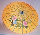 AAF Nommel®, Sonnenschirm 005, Dekoschirm aus Kunstfaser, Wasserfest in orange aus Bambus