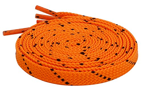 Schnürsenkel Flach Flachsenkel Streifen für Lässige Outdoor Schuhe Wanderschuhe Sportschuhe Turnschuhe Stiefel Twill - 8mm breit Orange-Schwarz 140 CM
