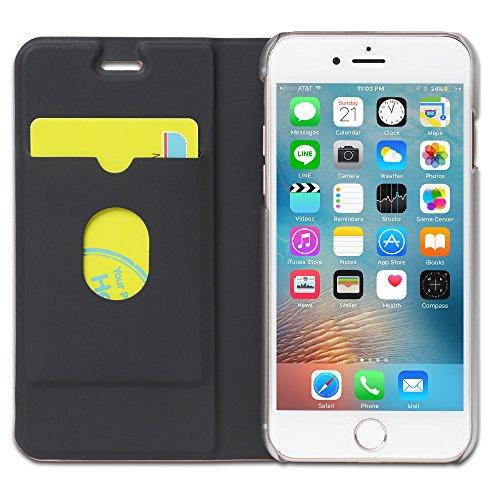 iPhone 7 Plus Hülle Cover, slim Kunstleder Rundum-schutz Handyhülle mit transparenter Rückschale Book Style Klapptasche Flip Case (Orange) … Orange