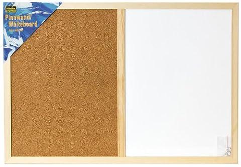 Idena 568016 - Pinnwand/Whiteboard, Größe 40 x 60 cm, mit Holzrahmen, inklusive 2 Schrauben