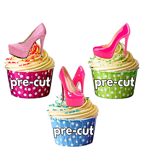 12 x Rose Chaussures de carte en Papier comestible prédécoupé pour décorations de gâteau avec support de fixation