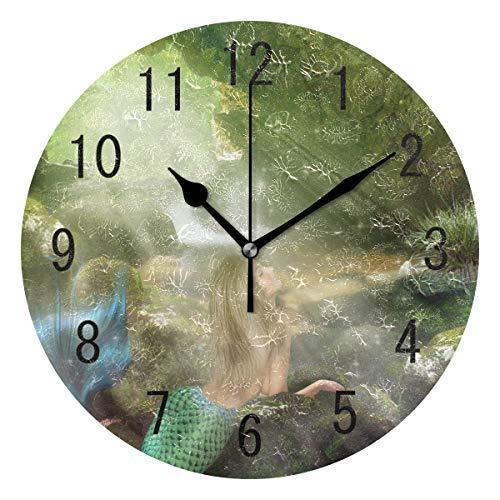 Use7 Home Decor Fantasy Meerjungfrau Lies Cave Runde Acryl Wanduhr Nicht tickend leise Uhr Kunst für Wohnzimmer Küche Schlafzimmer -