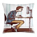 ABAKUHAUS Friki Funda para Almohada, Programador Adicto Al Trabajo De Guy, Material Lavable con Cremallera Colores No Destiñen, 60 x 60 cm