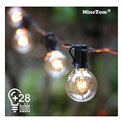 Outdoor String Lights,25Ft G40 Globe Light String with 28 Clear Bulbs-Indoor/Outdoor Hanging String Lights for Patio,Café Bars,Garden Backyard Gazebos Bedroom Pergola Umbrella Wedding Dinner Party Decoration, Black by MineTom
