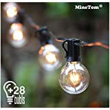 Outdoor String Lights,25Ft G40 Globe Light String with 28 Clear Bulbs-Indoor/Outdoor Hanging String Lights for Patio Garden Backyard Gazebos Wedding Party Decoration, Black