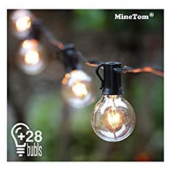 Outdoor String Lights,25ft G40 Globe Light String With 28 Clear Bulbs-indooroutdoor Hanging String Lights For Patio,café Bars,garden Backyard Gazebos Bedroom Pergola Umbrella Wedding Dinner Party Decoration, Black