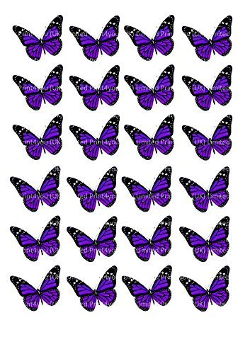 24 D2 viola farfalle cupcakes Edible cake Toppers 4 cm on wafer Rice Paper