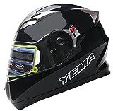 Motorradhelm Integralhelm Rollerhelm Fullface Helm - YEMA YM-829 Sturzhelm ECE mit Doppelvisier Sonnenblende für Damen Herren Erwachsene-Schwarz-M