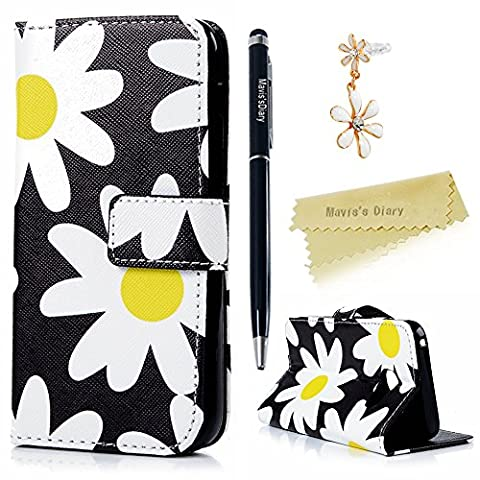 Mavis's Diary Galaxy A3 Cover ,Samsung Galaxy A3 Case (2017 Model) - Wallet Flip Bumper Cover PU Leather Case Shockproof Prints Design with Soft Inner TPU Case Slim Fit Folio Stand Protective Magnetic Closure Cover with Dust Plug & Stylus for Samsung Galaxy 2017 A3 - Daisy