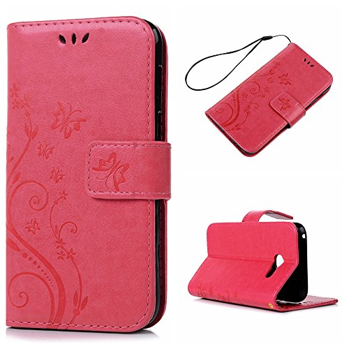 Price comparison product image KASOS Samsung Galaxy A3 2017 Leather Case, [Flip Wallet Case] Embossed Butterfly Flower Pattern Cover [Cash Card Slots Change Pouch]TPU Inner Bumper [kickstand Cradle] Magnetic Closure Lock Phone Shell