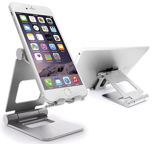 MyGadget Smartphone Ständer [Multi-Winkel Faltbar] Aluminium Stand Tischhalterung für Apple iPhone X XS Max XR X 8 7 / Samsung Galaxy S9 in Silber