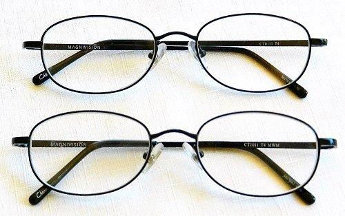 65ead6ffc387 (+ BONUS) Magnivision +2.00 TITANIUM (T4) Black Oval Metal Wire Rim