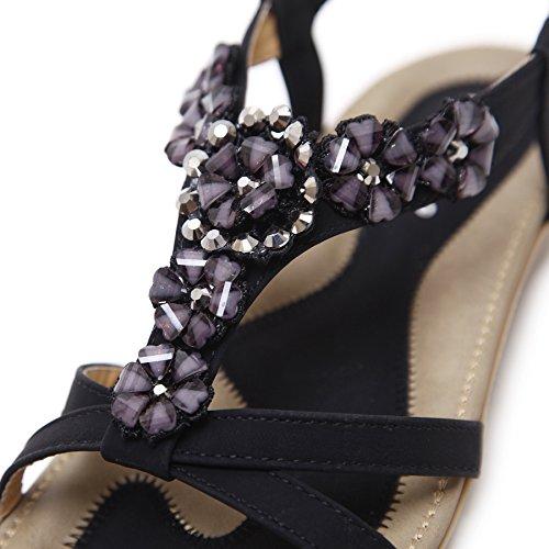 dqq femmes de Bohème de perles cheville sangle Sandales Noir - noir