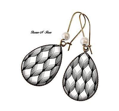 Boucles d'oreilles gouttes losanges noir et blanc cabochon bronze bronze-n-roses