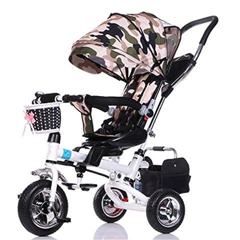 Enfant à l'intérieur de l'extérieur Petit vélo Vélo Bicyclette à vélo pour 8 mois - 6 ans Bébé Trois roues Chariot avec auvent, mousse / siège tournant / amorti / pliable, vert