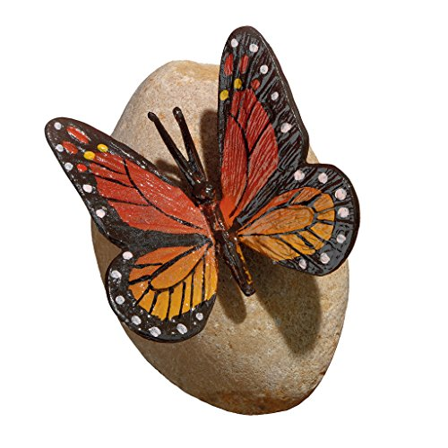 Monarch-bronze Statue (Design Toscano Figur Viceroy-Monarch-Schmetterling auf Stein, mehrfarbig, 15 x 15 x 12,5 cm, MP7486)