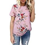 JUTOO Sommer T-Shirt Damenwickelbluse mit Punkten Leinen Hemdbluse Rüschen Glitzer Blau Enge Kurzarm Satin Grau Bunt Durchsichtige Hochwertige Schwarze Blumen (Rosa,XXL)