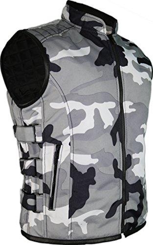 MDM Tan/Textil Bikerweste in schwarz (L)