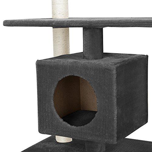 [en.casa] Katzen Kratzbaum (ca. 60 x 40 x 95 cm)(grau) Kuschelhöhlen / Aussichtsplatformen / Sisal / mit vielen Spiel – und Kuschelmöglichkeiten - 4